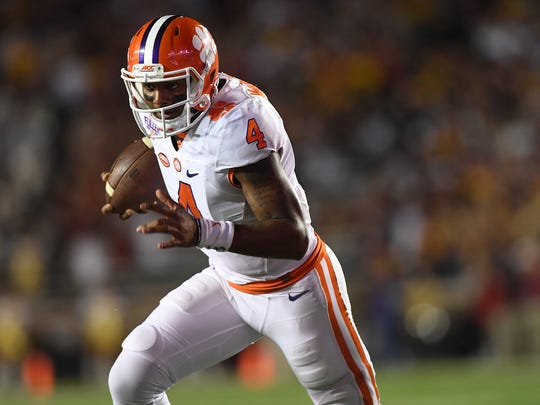 Clemson quarterback Deshaun Watson (4) during the 1st quarter at Boston College's Alumni Stadium in Chestnut Hill, MA on Friday, October 7, 2016.