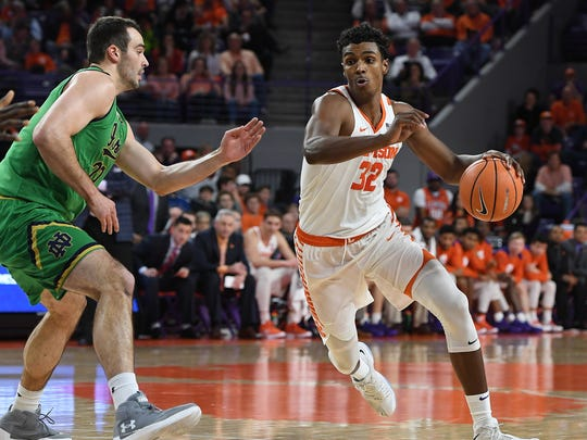 Clemson forward Donte Grantham (32) plays against Notre Dame during the 1st half on Saturday, January 20,  2018 at Clemson's Littlejohn Coliseum.