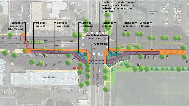 The revised design of an underpass proposed at the intersection of Shields and Elizabeth streets in Fort Collins.
