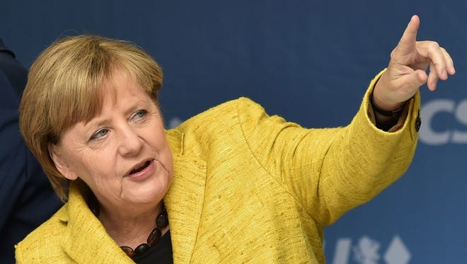 German Chancellor Angela Merkel at an election campaign event in Regensburg, southern Germany, on Sept. 18.