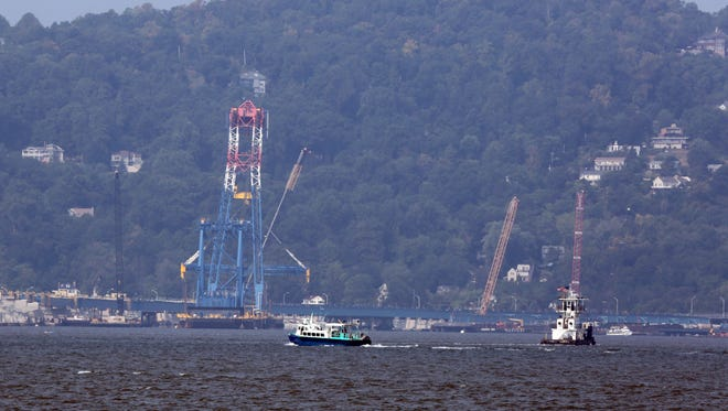 Boats traverse the Hudson River north of the Tappan Zee Bridge, Sept. 3, 2015. A person jumped from the bridge overnight.
