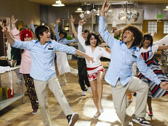 Zac Efron, Corbin Bleu and Vanessa Hudgens during a dance number on the set of High School Musical 2, a film shot mainly in Southern Utah at Snow Canyon's Entrada Country Club.