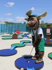 Bruce the Moose, the mascot at Timber Ridge Lodge, even enjoys the mini golf course.