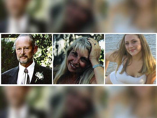 The Pinyon Pines victims, seen from left to right, were: Jon Hayward, a handyman with three children; his girlfriend Vicki Friedli, who worked at the Macy's in Palm Desert; and her 18-year-old daughter Becky, a student at College of the Desert.