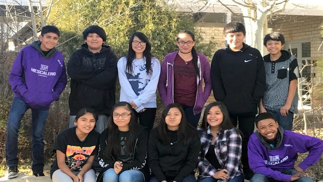 From left in back are Bret Prins, Shawn Jim, Jessie Sundayman Kameryn Chino, Brandon Lee and Noah Ahidley. In from from left are Jordan Chee, Delma Treas, Siian Poncho, Alyssa Blake and Terrence Douglass.