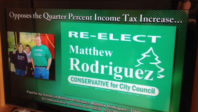 This is a photo of Lebanon Councilman Matthew Rodriguez's television advertisement that has drawn a Ohio Election Commission complaint.