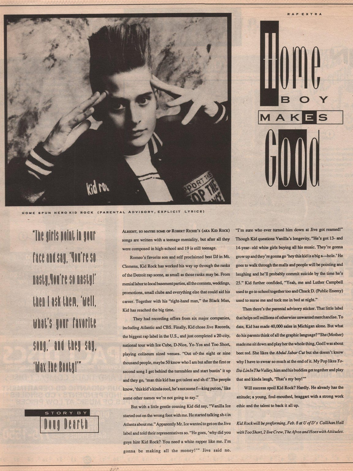 A feature on Kid Rock in a 1991 issue of Orbit, an