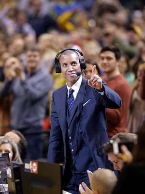 Former Pacer Reggie Miller acknowledges the crowd was he was working the television broadcast for TNT  in the first half of their game Monday, January 23, 2017, evening at Bankers Life Fieldhouse.