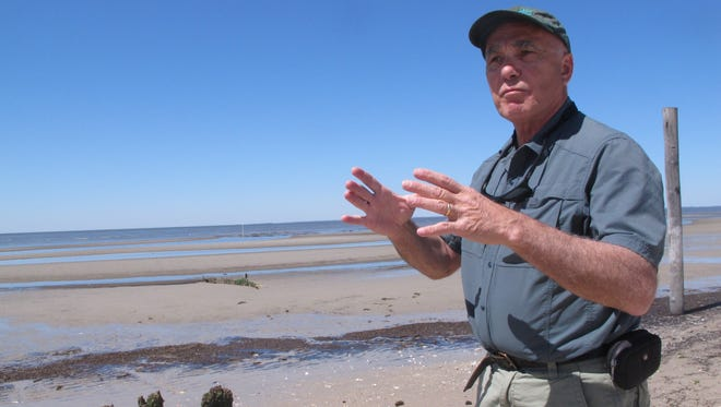 In this photo taken Wednesday, April 20, 2016, Larry Niles, one of the nation's leading experts on shorebirds, speaks along a beach in Middle Township N.J. where federal authorities recently allowed commercial oyster growers to expand their operation on the Delaware Bay.