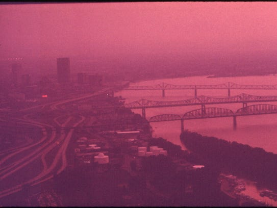 Smog hangs over Louisville and the Ohio River in  Sept.