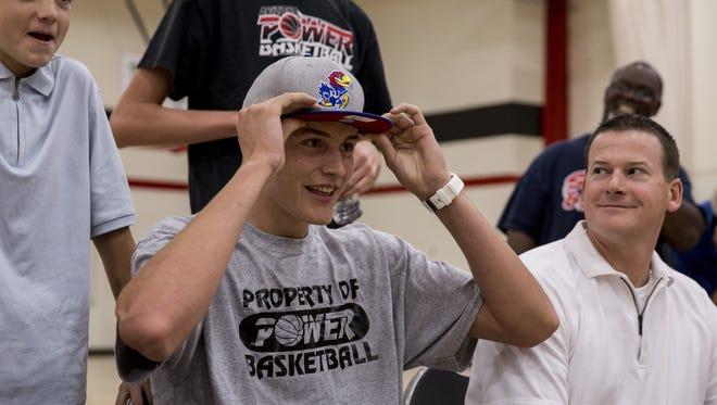 Gilbert Christian's Mitch Lightfoot announces his commitment to Kansas on Saturday, Oct. 24, 2015 at Glendale Community College in Glendale.