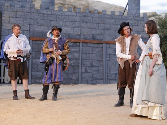 "Jeremy Orr, left, Mark Burnham, Charles Dobey and Lauren Harris are featured in a scene from ""The Three Musketeers."""