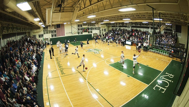 A packed house for the boys basketball game between the Burlington Seahorses and the Rice Green knights at Rice Memorial high School on Thursday night.