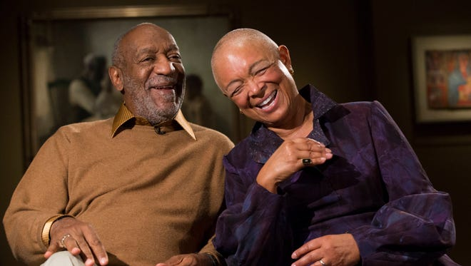 "Bill Cosby, left, and his wife Camille share a laugh as they tell a story about collecting on of the pieces in the upcoming exhibit, Conversations: African and African-American Artworks in Dialogue, at the Smithsonian's National Museum of African Art in Washington. The public has begun to weigh in on the Smithsonian's exhibition featuring Cosby's art collection. The Smithsonian released 35 email messages to The Associated Press. Of those, at least 30 call for the National Museum of African Art to take down its ""Conversations"" exhibition featuring Cosby's art. The protests come in the wake of revelations Cosby admitted under oath that he obtained drugs to give to women with whom he wanted to have sex."