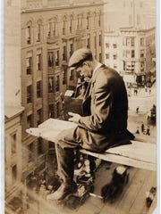Albert Stone perched above Clinton Avenue, 1907.
