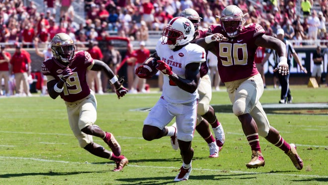Florida State's defense surrendered 365 total yards during a 27-21 setback versus NC State at Doak Campbell Stadium in Tallahassee, FL on Sept. 23rd, 2017.