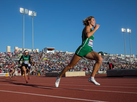 Wall's Jayden Fiebiger competes in the girls 3A 400-meter dash during the UIL State Track and Field meet at Mike A. Myers Stadium in Austin on Friday, May 11, 2018.