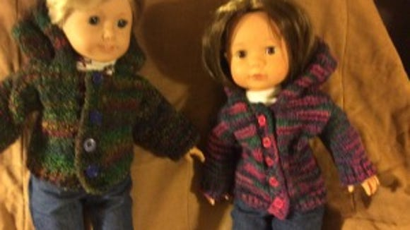 Kimmy is wearing the parka I made for the dolls because I didn't make them a brioche sweater.