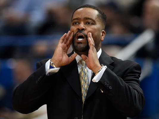 Tulsa head coach Frank Haith calls to his team during the first half an NCAA college basketball game against Connecticut, Thursday, Feb. 15, 2018, in Hartford, Conn. (AP Photo/Jessica Hill)