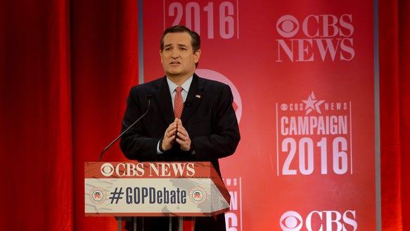 Ted Cruz speak during the Republican debate at the