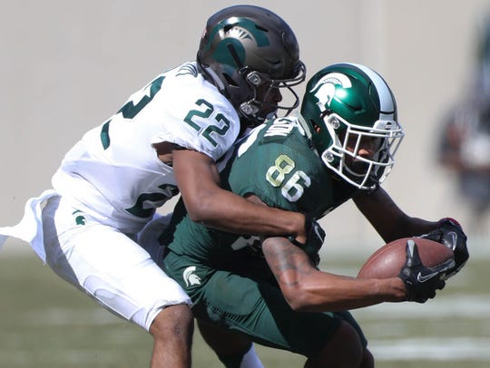 Kirthmon F. Dozier/DFP MSU receiver Trishton Jackson