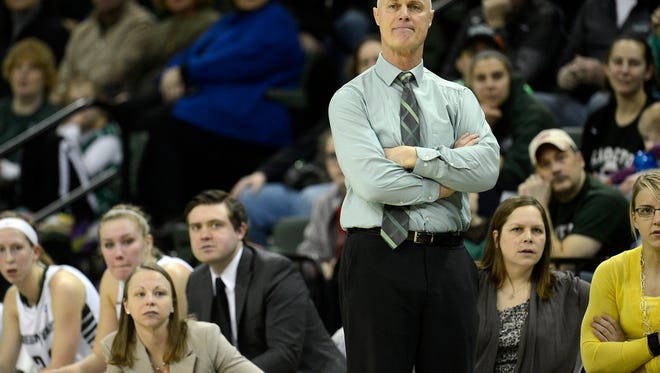 UW-Green Bay head coach Kevin Borseth looks on during a Horizon League game against Cleveland State at the Kress Events Center in Green Bay.