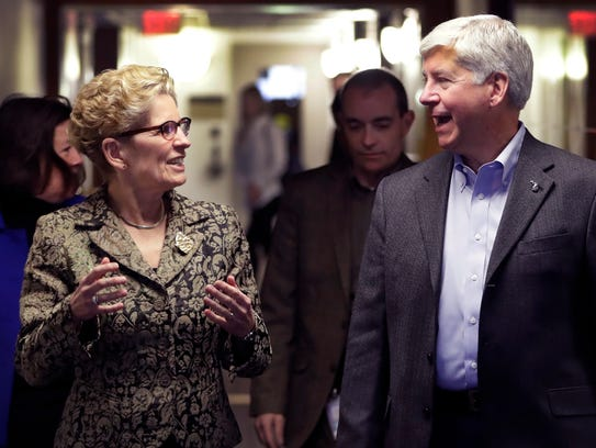 Michigan Gov. Rick Snyder and Ontario Premier Kathleen