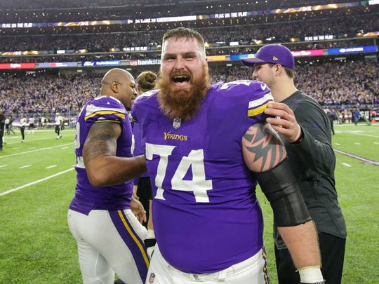 Jan 14, 2018; Minneapolis, MN, USA; Minnesota Vikings offensive lineman Mike Remmers (74) celebrates after the game against the New Orleans Saints at U.S. Bank Stadium. Mandatory Credit: Brad Rempel-USA TODAY Sports