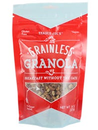 "Trader Joe's urges those with ""Grainless Granola"" with an expiration date of March 28 to April 10, 2018, to discard it or return it to Trader Joe's for a full refund."