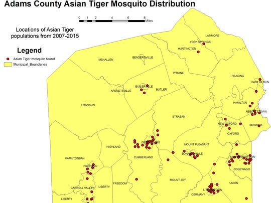 Map of the Asian Tiger mosquito population in Adams County
