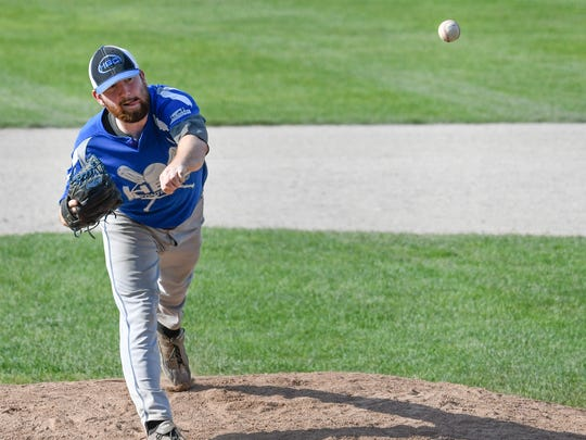 HBC pitcher Caleb Vincent throws home during the City Major tournament.