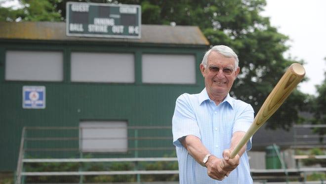 Bill Walker, here photographed at Veterans Field in Chatham two summers ago, batted a league-leading .432 in 1957.