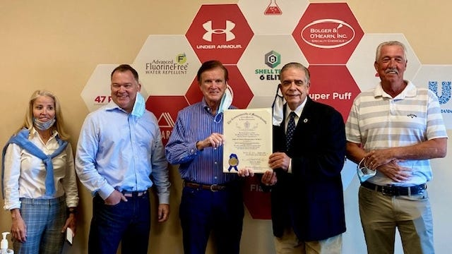 At the presentation of the citation are, from left, Kelly Murphy, Shawn Honeycutt, Shaun O'Hearn, Rep. Alan Silvia, and Jim O'Hearn.