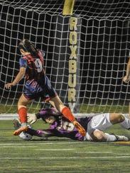 Morris Knolls goalkeeper Madison Somogyi makes another