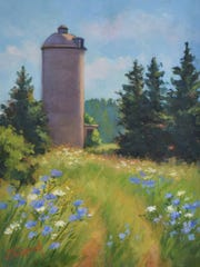 """""""Lone Silo"""" by Cynthia Tumpach, Green Bay, was awarded """"Best in Show"""" at the 2016 WEA Rahr-West exhibit."""