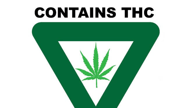 The universal symbol is what will have to appear on most medical marijuana products that are sold in Michigan to warn people that the product being sold contains THC, the psychoactive ingredient in cannabis that allows people to get high.