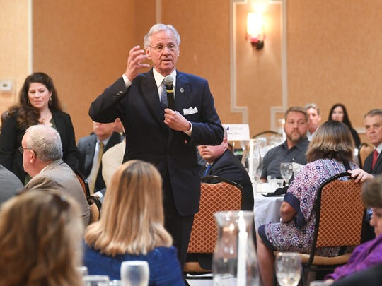 Gov. Henry McMaster speaks during an Anderson Area Chamber of Commerce luncheon at the Hilton Garden Inn in Anderson on Monday.