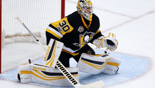 Pittsburgh Penguins goalie Matt Murray plays during