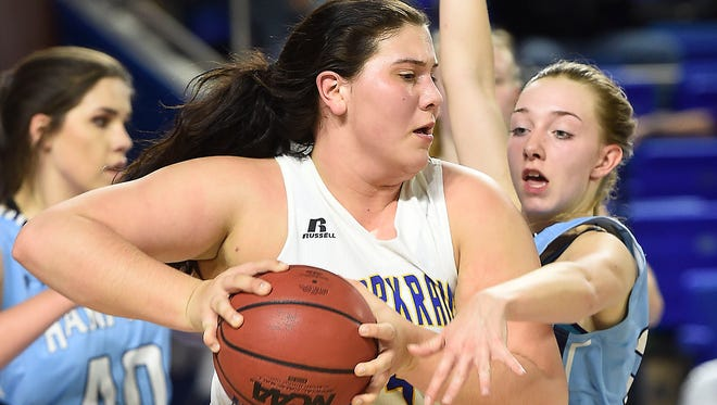 Clarkrange's Kara Meadows (41) holds on to a rebound agains Hampton in Division I, Class A girls basketball state semifinals  Friday March 10, 2017, in Murfreesboro, TN