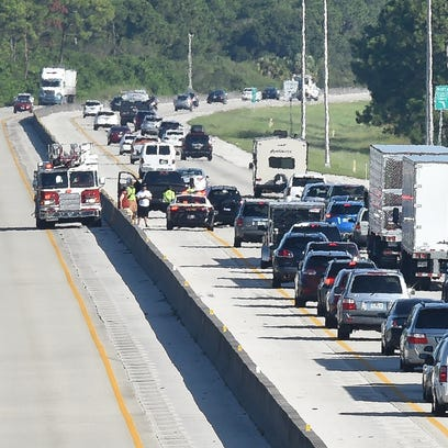 North-bound traffic along Florida's Turnpike slows