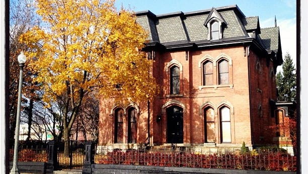 A photo of a stately home in Detroit's Brush Park neighborhood