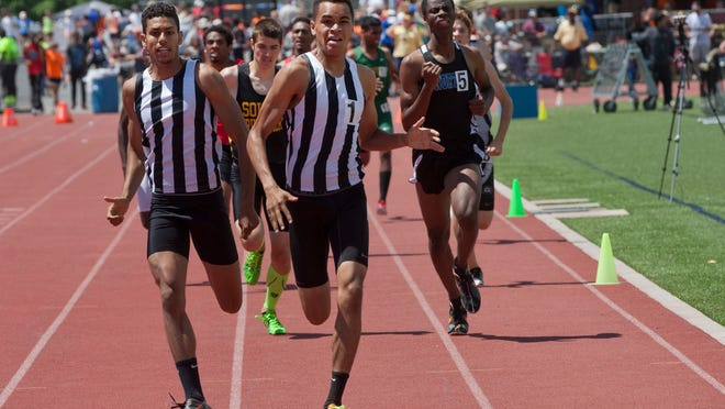 Old Bridge's Hazem Miawad and Rey Rivera finished second and first respectively in the Boys Group IV 800 finals at the NJSIAA Groups I, IV, and B Track and Field Championships in Egg Harbor Township, NJ on May 30, 2015. Peter Ackerman/Staff Photographer