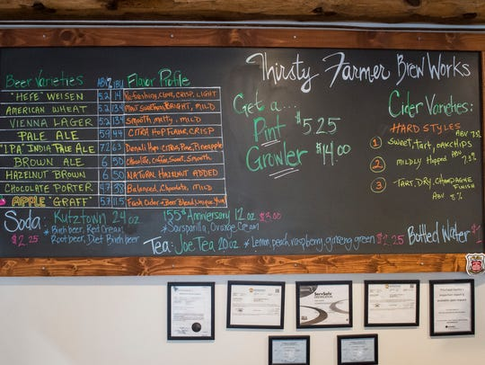 The current menu at Thirsty Farmer Brew Works in Biglerville features nine beers including American Wheat, Hefeweizen, Vienna Lager, IPA, Pale Ale, Brown Ale, Hazlenut Brown, Chocolate Porter and Apple Graff.