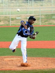 Carlsbad National's RJ Amos fires a pitch in Saturday's