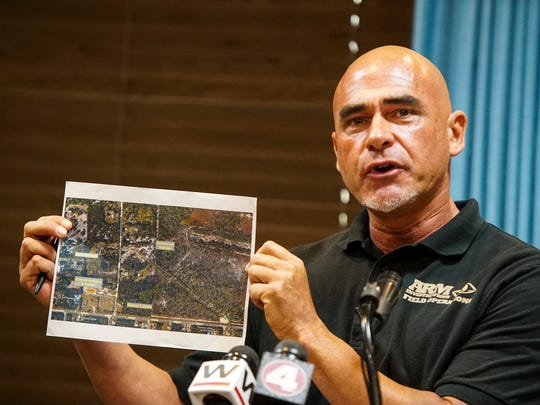 Richard Couto, the founder, chief executive director and lead investigator of The Animal Recovery Mission, talks to the media during a news conference Thursday morning about their work they have been doing after receiving resident complaints of illegal animal and horse slaughter in Lee County that began in 2015, according to Couto. ARM set out to investigate the Rancho Las Delicias and Rancho Santa Barbara farms in 2015. Investigation of a third farm, Rancho Antony & Roman, began in March 2017, and a fourth farm, Rancho Cabrera, in December 2017. Following ARM's undercover investigation alleging extreme acts of animal cruelty, reports were given to the Lee County Sheriff's Office and Lee County State Attorney's Office. ARM is upset that the state has found no animal cruelty.