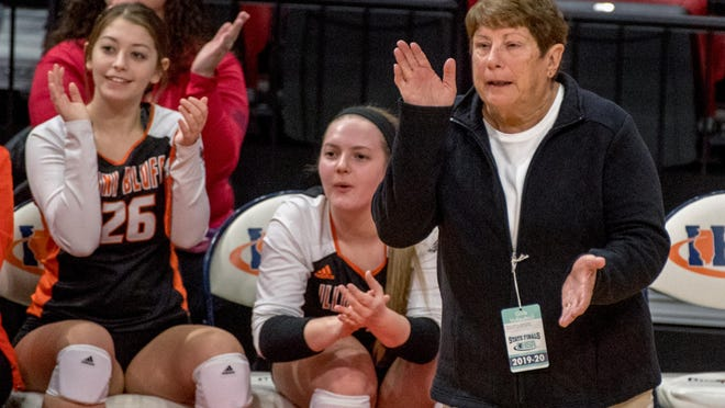 Illini Bluffs head coach Nancy Meyer cheers on her team near the end of the second set of their Class 1A volleyball state semifinal against Norris City-Omaha-Enfield on Friday, Nov. 15, 2019 at Redbird Arena in Normal. Illini Bluffs won in straight sets 25-19, 25-22 to advance to Saturday's title game.