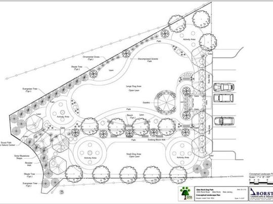 This aerial rendering shows the current landscape plan for the Glen Rock dog park.