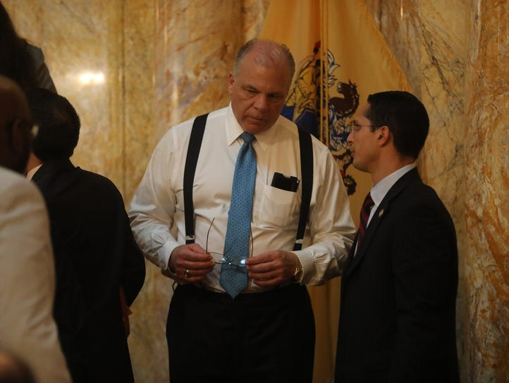 Senate President Stephen Sweeney talks with Senator