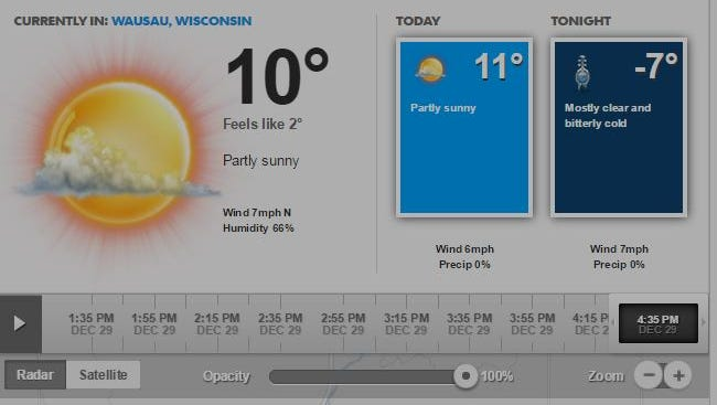 Screen grab of today's forecast