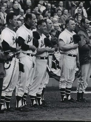 Members of the Milwaukee Braves team that brought major league baseball to Milwaukee in 1953 were guests in the Stadium as the Braves opened their last season in Milwaukee. From left were Andy Pafko, Eddie Mathews, Johnny Logan (partly hidden), Sid Gordon, Jack Dittmer (behind Gordon), Warren Spahn, Max Surkont and Bob Buhl.